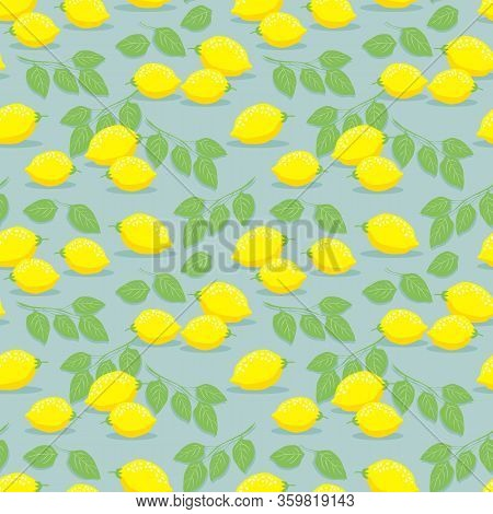 Lemon And Leaves Seamless Pattern. Fresh Summer Fruit Concept.