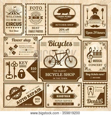 Old Style Press Banners. Newspaper Vintage Template Text Ads Framed Announce Media Labels Vector Set