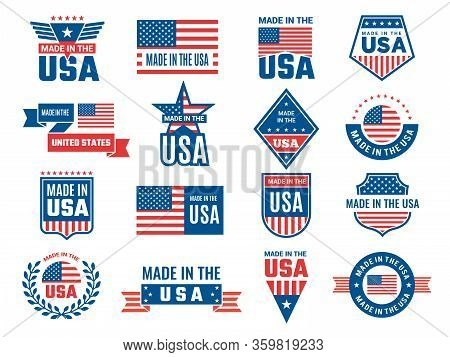 Made In Usa Logo. Label For Patriot American Flag And Special Symbols For Vector Usa Stamps Design.