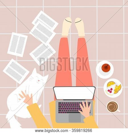 Girl Work From Home Concept. Covid-19 Concept.
