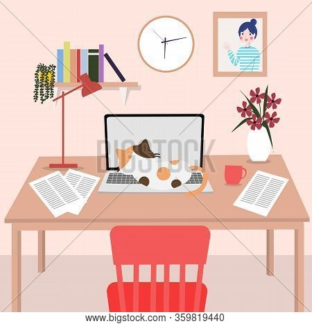 Working Desk At Home. Covid-19 And Work From Home Concept.