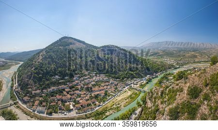Old Albanian town of Berat is one of the well-known UNESCO landmarks of the country. Panorama from the castle hill