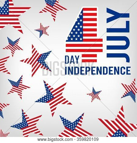 4th July. Usa Independence Day, Patriotic American Banner. Festive Stars Vector Background. American