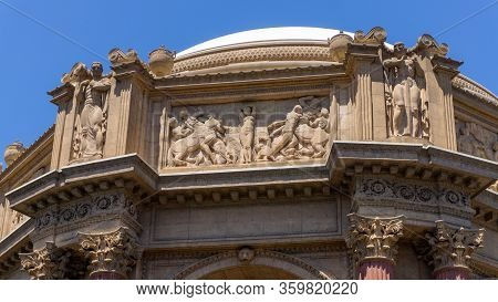 Details Of The Dome In Palace Of Fine Arts With Human Figures