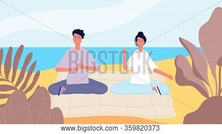Meditation On Beach. Man Woman Morning Relax. Mind Restart, Summer Vacation Vector Illustration. Pos