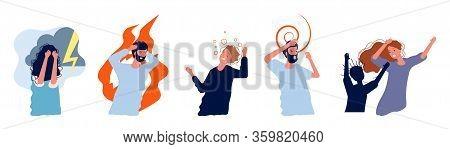 Mental Disorder People. Nervous, Aggressive Scared Persons. Psychiatry, Women Men, Psychiatrist Pati