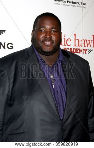 LOS ANGELES - JAN 20:  Quinton Aaron at the 9th Annual Living Legends of Aviation Awards at the Beverly Hilton Hotel on January 20, 2012 in Beverly Hills, CA12