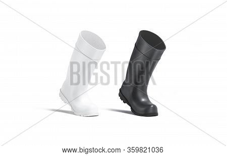 Blank Black And White Rubber Wellington Boots Mock Up, Isolated, 3d Rendering. Empty Silicone Protec