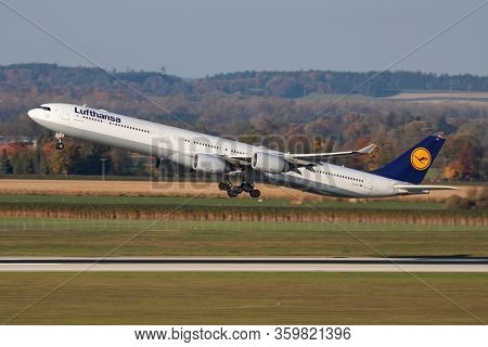 Munich / Germany - October 18, 2017: Lufthansa Airbus A340-600 D-aiht Passenger Plane Departure At M