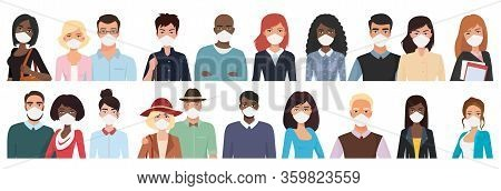 Multiracial Different Age People In Masks Cartoon Flat Vector Illustration Set. Young, Middle, Over