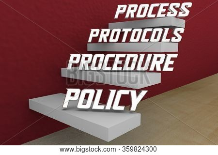 Process Procedure Protocols Policy Official Approved Standard Steps Method 3d Illustration