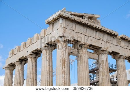 Parthenon. Emblematic Temple Restored In An Archaeological Site With Doric Columns Built In 447 A. C