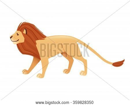 Proud Powerful Cute Lion Character Cartoon Style Animal Design Flat Vector Illustration Isolated On