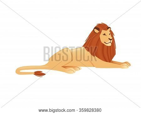 Proud Powerful Cute Lion Lies On The Ground Character Cartoon Style Animal Design Flat Vector Illust
