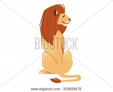 Proud Powerful Cute Lion Sitting On The Ground Character Cartoon Style Animal Design Flat Vector Ill