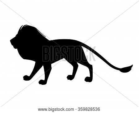 Black Silhouette Proud Powerful Cute Lion Character Cartoon Style Animal Design Flat Vector Illustra