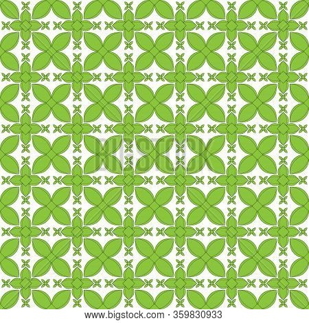 Vector Illustration Background Image Geometric Seamless Pattern Drawing Green Flowers With A Black O
