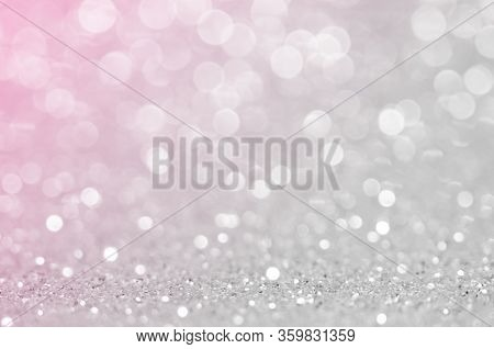 Abstract Light Grey ,sliver Pink Color De Focused Circular Background. Night Light Or Season Greetin
