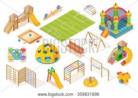 Set Of Isolated Playground Elements, Isometric View. Children Or Kids Play Ground Equipment. Slide A