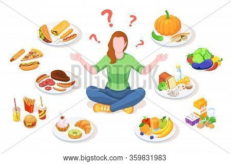 Woman Choosing Healthy And Junk Food. Person Making Choice Between Unhealthy And Organic Nutrition.