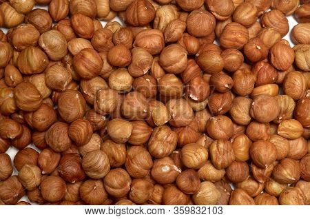 Hazelnut Pile Closeup. Hazelnut Photo Background. Organic Food. Tasty Healthy Snack. Scattered Nuts