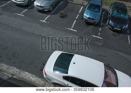Chomutov, Czech Republic - March 30, 2020: Many Cars Parking In Street During Spring Sunny Weather