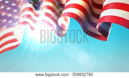 The Sun Shines Through The Waving Usa Flag. Usa Waving Flag On Blue Sky For Banner Design. Festive P
