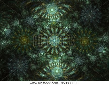 Beautiful Fractal Floral Art. Computer Generated Graphics. Abstract Floral Fractal Background For Ar