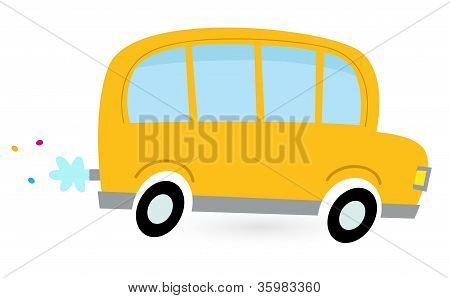 Yellow Cartoon School Bus Isolated On White