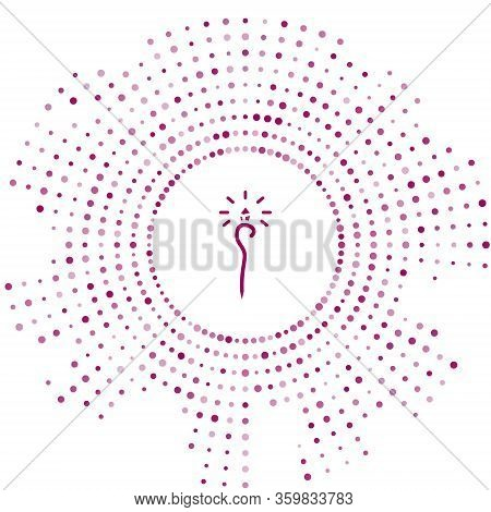 Purple Magic Staff Icon Isolated On White Background. Magic Wand, Scepter, Stick, Rod. Abstract Circ