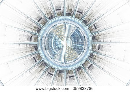 Abstract Science Or Technology Background, Futuristic Fractal. Spaceship Hightech Screen Concept