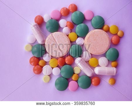 Stack Of Colourful Pills, Medicine Background