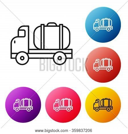 Black Line Tanker Truck Icon Isolated On White Background. Petroleum Tanker, Petrol Truck, Cistern,