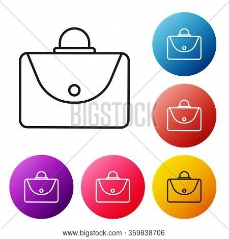 Black Line Briefcase Icon Isolated On White Background. Business Case Sign. Business Portfolio. Set