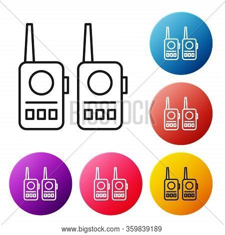 Black Line Walkie Talkie Icon Isolated On White Background. Portable Radio Transmitter Icon. Radio T