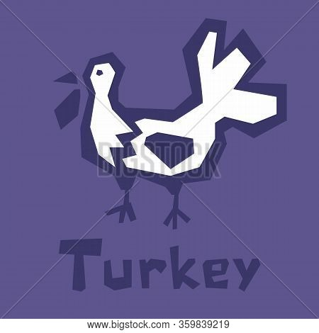 Turkey Flat Icon For Web, Mobile And Infographics. Primitive Style Turkey Icon. Thick Outline, Text.