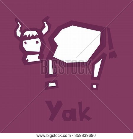 Yak Cow Abstract Flat Illustration. Clip Art Lovely Yak. Abstract Cute Bull. Burgundy Background. Th