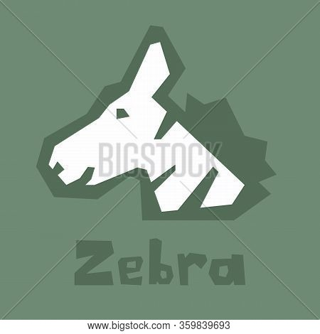 Head Of Zebra In Cartoon Flat Style Isolated On Green Background. Simple Vector Design. Zebra, A Fri