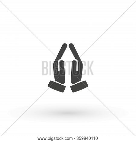 Hands Folded In Prayer Icon. Flat Hands Folded In Prayer Vector Icon For Web Design Isolated On Whit