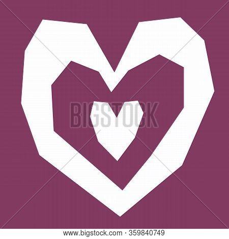 Heart Cut Out Of Paper, Primitive Style. Geometry Shapes In Burgundy Color. Line With Sharp Corners.