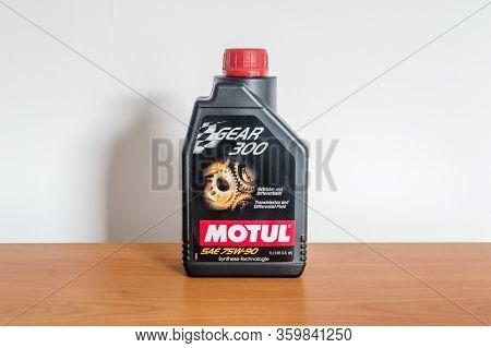 Pruszcz Gdanski, Poland - April 3, 2020: Bottle Of Motul Gear 300 75w-90 Gear Oil. Transmission And