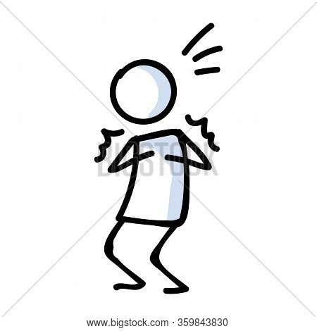 Cute Stick Figure Fearful Negative Emotion Lineart Icon. Anger And Anxiety Pictogram. Communication