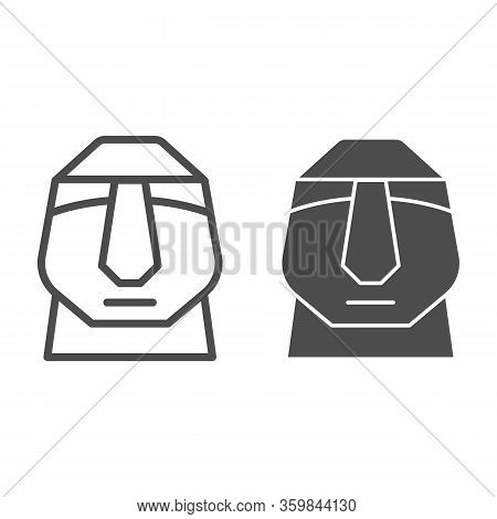 Easter Island Stone Moai Line And Solid Icon. Easter Island Tiki Head Statue Outline Style Pictogram