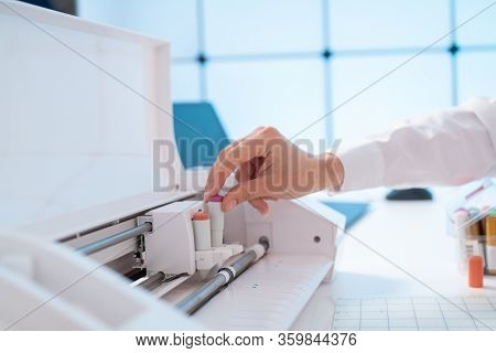 Office plotter in a design laboratory