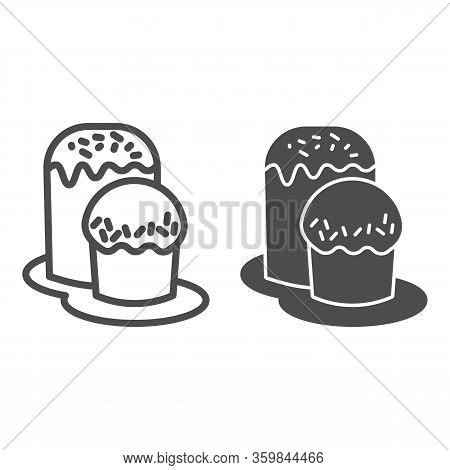 Two Easter Bread On Plate Line And Solid Icon. Traditional Paschal Dessert Outline Style Pictogram O
