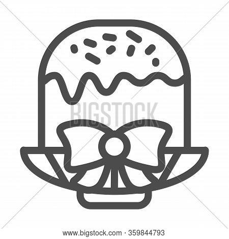Easter Cake On Plate With Bow Line Icon. Traditional Paschal Dessert With Glace Outline Style Pictog