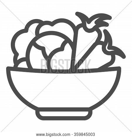 Cabbage And Carrots In A Plate Line Icon. Healthy Vegetables In Bowl Outline Style Pictogram On Whit
