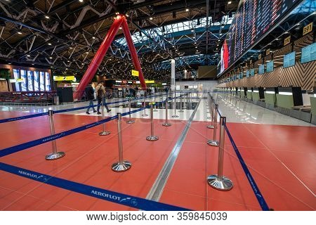 Moscow, Russia - 2020: Sheremetyevo International Airport, Terminal C. Check-in Without People. Elec