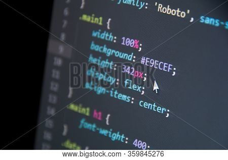 Css Web Code. Text Align. Web Development. Programming Concept.
