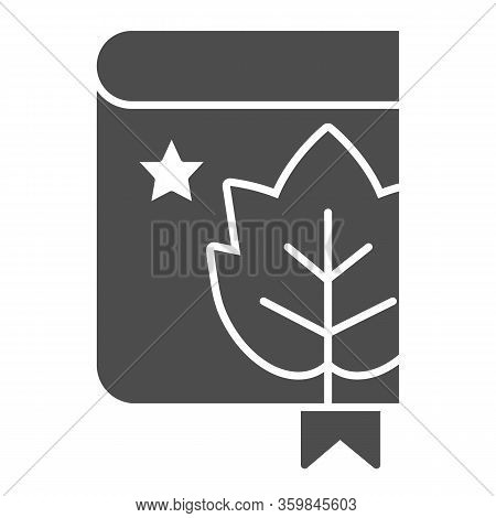 Book With Grape Leaf And Bookmark Solid Icon. Notes Of Grapes Growing Glyph Style Pictogram On White